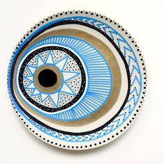 Blue Ornament Evil Eye - Evil Eye Decor - Evil Eye - Wall Decor - Bohemian Decor - Mandala - Plate Decor - Porcelain Decor - Boho Decor by biancafreitas on Etsy