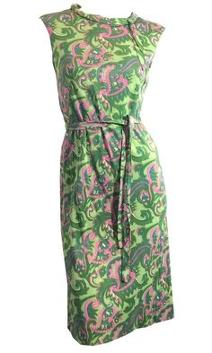 Pink Hearts Pink and Green Print Jersey Shift Dress circa 1960s Dorothea's…