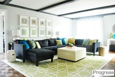 This is a perfect color combo idea that will go well with out dark grey sectional!!!! Art Light grey walls, dark grey couch interior-design