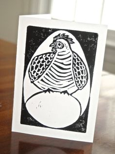 Chicken and the Egg - Original Linocut Card
