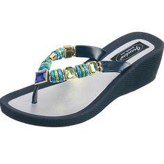 cf6b56ecb96 Grandco Sandals - Jade Wedge 26688E Jade Beads