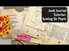 Sewing On Paper Tutorial Video: Junk Journal Process: How To Sew on Paper Envelope Tutorial, Mini Album Tutorial, Journal Paper, Book Journal, Journals, Journal Ideas, Scrapbook Albums, Scrapbook Paper, Scrapbooking
