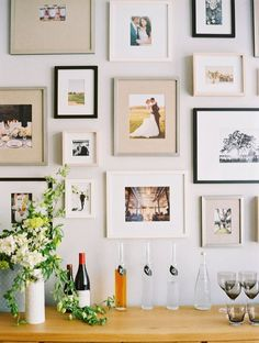Love the inclusion of wedding photographs on a gallery wall.