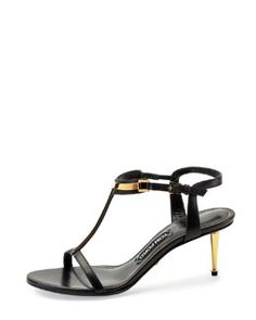 X2DNL Tom Ford Leather T-Bar Sandal, Black