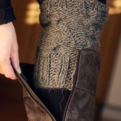 Cut the sleeve from an old sweater and use as a boot sock without the bunchiness BRILLIANT!