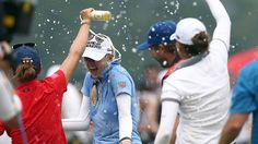 Jessica Korda of USA is splashed with water on the 18th hole after winning the Sime Darby LPGA in the final round of the Sime Darby LPGA Tour at Kuala Lumpur Golf & Country Club