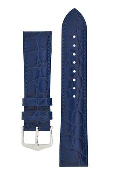 Hirsch CROCOGRAIN Crocodile Embossed Leather Watch Strap in BLUE – WatchObsession