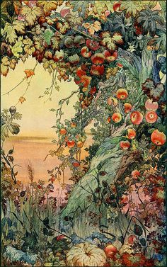 """The Fruits of the Earth (detail) by Edward J. Detmold, 1911. Watercolor. Published in The International Studio magazine (vol. XLII) from the article """"A Note on Mr. Edward J. Detmold's Drawings and Etchings of Animal Life"""""""