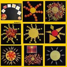 "Transient art sunshine provocation with shapes & glass pebbles… from Rachel ("",) Reggio, Art Activities, Summer Activities, Montessori, Finger Gym, Cultural Crafts, Invitation, Sun Art, Australia Day"