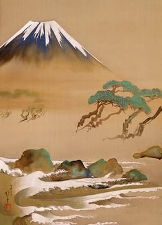 酒井唯一 Sakai (Hoshuku) YUITSU 1878–1956 Mount Fuji and Waves Modern period (1912-1945 A.D.) Hanging scroll(s), ink and color on silk 58.3 x 42.7 cm Rinpa School 琳派