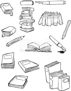 Download this Black And White Illustrations Of Books And Writing Utensils vector illustration now. And search more of iStock's library of royalty-free vector art that features Art graphics available for quick and easy download.