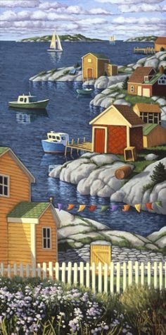 Along the Shore oil on canvas 60 x 30 inches, by Nova Scotia artist Paul Hannon. What a wonderful collection by him. Henri Rousseau, Naive Art, Canadian Artists, Whimsical Art, Nova Scotia, Art Pictures, Photos, Home Art, Canvas Prints