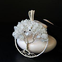 Albero della Vita, wire, rame placcato, argento quarzo ialino, regalo donna, Anniversario, San Valentino, pezzo unico, pendente elegante di NellaBorsadiMaryPopp su Etsy