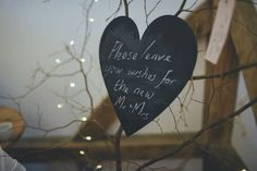 Chalk board sign for our wedding wish tree. 'Please leave your wishes for the new Mr and Mrs'