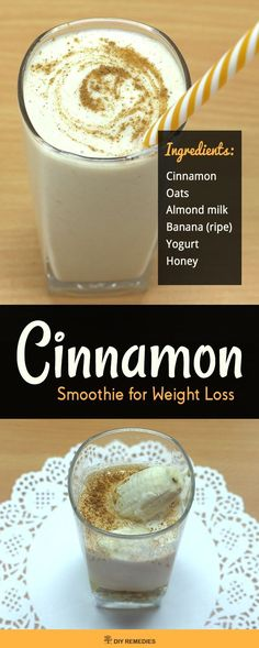 Cinnamon Smoothie for Weight Loss Here we're about to discover a healthy cinnamon weight loss smoothie. Cinnamon is one best ingredient that suppresses your appetite and helps you to lose weight. #DIYRemedies http://eatdojo.com/extreme-healthy-shakes-lose-weight-yummy/