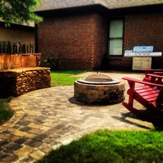 Great Fire Pit with Custom Bench  Southern Hardscapes