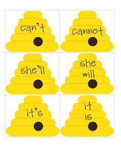 FREE bug-themed contraction activity -  independent reading centers.