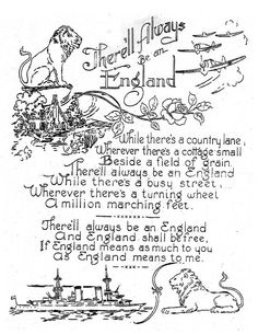 """""""There'll Always Be An England"""" embroidery pattern. I'm a real Anglophile and just love this."""