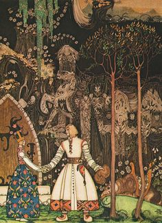 enchantingimagery:    He took a long, long farewell of the Princess, and when he got out of the Giant's door, there stood the Wolf waiting for him.  An illustration by Kay Nielsen for The Giant Who Had No Heart in His Body, from the collection of fairy tales East of the Sun, West of the Moon. Nielsen is an outstanding artist, and his illustrations have a very strange, enticing quality to them. - Scan by me.