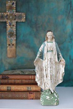 Reproduction of Vintage Virgin Mary Statue   Coastal Farmhouse