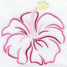 Tropical Hibiscus Embroidered Flour Sack by EmbroideryEverywhere, $12.99