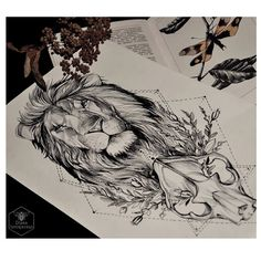 Instagram media by dianaseverinenko - #sketch #drawing #linework #art #lion #skull #geometry #plants #blacktattooart #darkartists