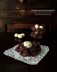 Chocolate Cornflakes Easter Nests that consist of only 3 ingredients and come together on no time. | SpecialtyCakeCreations