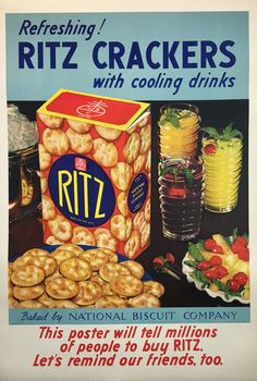 Ritz Crackers with cooling drinks original vintage food culinary poster from Whiskey Drinks, Wine Drinks, Vintage Food Posters, Beer Poster, Vintage Advertisements, Retro Ads, Vintage Ads, Keep Calm And Drink, Snack Recipes