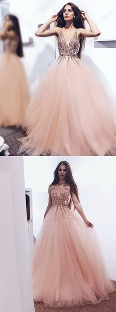 Prom Dresses Ball Gown, A-Line V-Neck Pearl Pink Tulle Prom Dress with Sequins Appliques, from the ever-popular high-low prom dresses, to fun and flirty short prom dresses and elegant long prom gowns. Blush Pink Prom Dresses, Prom Dresses 2018, Prom Dresses With Sleeves, Simple Dresses, Formal Dresses, Pink Tulle, Party Dresses, Dress Party, Tulle Ball Gown
