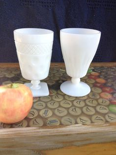 Milk Glass Footed Goblets Set of 2, Vintage Depression Milk Glass.