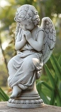 "Seated Angel on Pedestal For Garden or Grave Site. Sweet praying angel that would add beauty to the garden or grave site. Made of Resin/Stone mix Measures 17""H"