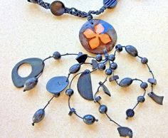 Wood & Plastic Bead Necklace with Ceramic Pendant on Leather Cord
