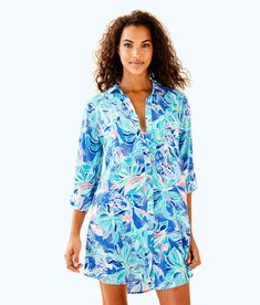 83522a2e1c428 Lilly Pulitzer Womens Natalie Coverup Swimsuit With Shorts