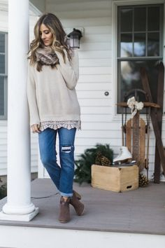 Lace trim sweater with boyfriend jeans and a faux fur scarf | Winter Fashion Ideas | Winter Style Tips | How to Dress for Winter | How to Style a Sweater | Fashion for Winter || Lauren McBride