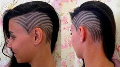 classic V hair tattoo with side swept hair