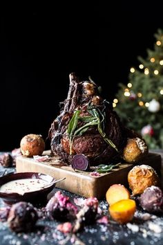 """Sage Crusted Standing Rib Roast- a simple, easy, & """"special"""" dinner, with a delicious gorgonzola cream sauce & salt roasted beets Beef Recipes, Cooking Recipes, Standing Rib Roast, Half Baked Harvest, Roasted Beets, Mets, Queso, Holiday Recipes, Christmas Recipes"""