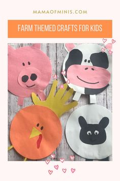 Farm Theme Crafts, Preschool Farm Crafts, Farm Animal Crafts, Preschool Art Projects, Art Activities For Toddlers, Pig Crafts, Chicken Crafts, Animal Crafts For Kids, Preschool Learning