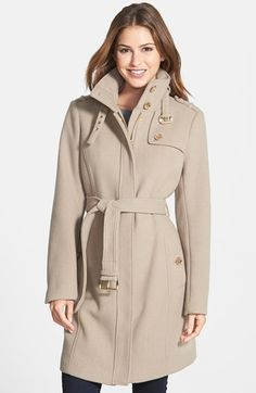 MICHAEL Michael Kors Stand Collar Wool Blend Trench Coat (Regular & Petite) available at #Nordstrom