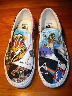 DIY band shoes (incl. Nirvana, Rolling Stones, Pink Floyd, Guns 'N Roses)