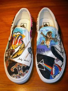 DIY band shoes (incl. Nirvana, Rolling Stones, Pink Floyd, Guns 'N Roses)
