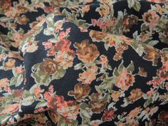 A cotton and linen mix with dark florals, imagine a pair of loose dungarees in this vintage print. Amazing! #cottonandlinen #dressmakingfabric #vintagefloral #summersewing