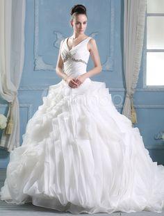 Ivory Ball Gown V-Neck Flower Court Train Organza Wedding Dress - Milanoo.com