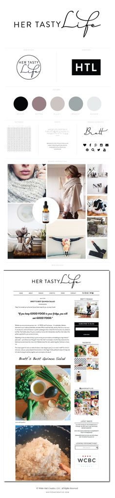 Her Tasty Life Blog Design by White Oak Creative - logo design, wordpress theme, mood board inspiration, blog design idea, graphic design, branding