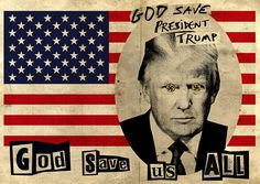 In contrast to the God Save the Queen piece, this piece has took a figure many people don't respect and added the same 'ransom note' type of text. I like how controversial this piece is and the clear divide between the American flag (and what it stands for) and the Swastikas in Trump's eyes- showing how in Reid's opinion he is anti-American.