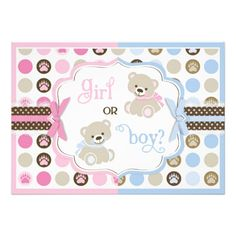A gender reveal party invitation featuring sweet blue and pink polka dot paw print with sweet teddy bears.