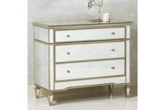 Josephine 3-Drawer Mirrored Accent Chest with Silver Trim