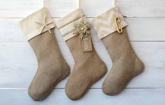 Christmas Stocking  Set of 3 burlap stockings by TwentyEight12, $105.00