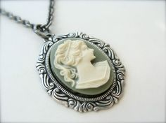 Vintage Style Green Cameo Necklace