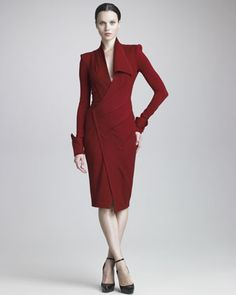 Draped Jersey Long-Sleeve Dress by Donna Karan - I love this rich, dark shade or red and the gorgeous cuffs and neckline.  It's like a piece of art!