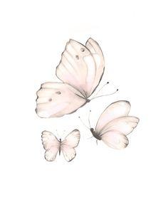 Butterfly Nursery Art, Baby Girl Nursery, Pink Butterflies, Set of 2 Butterflies, Pink Baby Wall Dec Butterfly Nursery, Butterfly Wall Art, Butterfly Painting, Pink Butterfly, White Butterfly Tattoo, Butterfly Tattoo Designs, Monarch Butterfly, Butterfly Design, Nature Prints